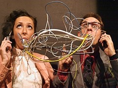 HOW CURIOUS IT IS! AND BIZARRE! :  Mr. and Mrs. Martin (Chase Mullins and Natalie Roy) spew mouthfuls of misunderstanding in Cal Poly Theatre Department's The Bald Soprano. - PHOTO BY TIM DUGAN