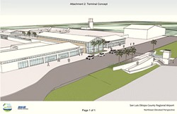 TERMINAL CAPACITY :  The County Board of Supervisors approved Airport Services to move ahead with the second phase of terminal design and development for the SLO County Regional Airport. - IMAGE COURTESY OF RYNOLDS, SMITH, AND HILLS