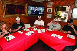JUDGE RED :  (Left to right) Anna Starkey, Glen Starkey, Vic Vacanti, Ronnie Hester, and James Palmese drank and ate their way through nine entrants to determine the best.