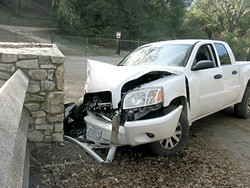 COLLISION COURSE:  After a truck smashed into the entry gate of Kim Routh's driveway on Vineyard Drive, she started to get more concerned about an increase in Adelaida area winery construction and expansions, and the traffic that comes with it. - PHOTO COURTESY OF KIM ROUTH