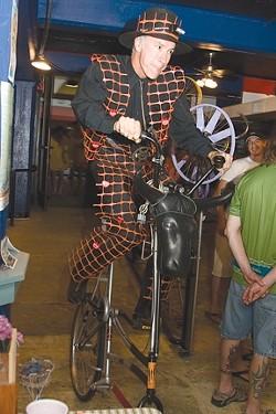 RINGMASTER :  Bill Mulder, the Sheriff of the Tall Bike Posse, coordinates the Bike Month art exhibit each year. - PHOTO BY MEGAN MASTACHE