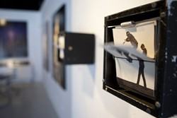 LEAP FROG :  Wendy Marvel and Mark Arnon Rosen create simple but intriguing animations through mechanized flipbooks, such as the one pictured. - PHOTOS BY STEVE E. MILLER