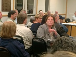FACING OPPOSITION:  Ethnobotanica financial officer Stephanie Kiel, seen here during the Feb. 24 SCAC meeting, said she thinks there are many misconceptions about dispensaries, including increased crime concerns and the notion that the drug isn't really used for medical purposes. - PHOTO BY CAMILLIA LANHAM