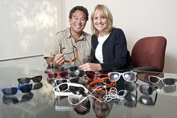QUITE THE EYEFUL :  Richard Sanpei and Linda Parker Sanpei designed and sell sunglasses specially made to accommodate active lifestyles. - PHOTO BY STEVE E. MILLER