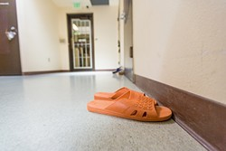 SUMMER SANDALS:  Kids neatly place their shoes outside rooms while they are inside. - PHOTO BY KAORI FUNAHASHI