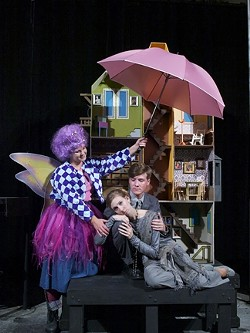 IMAGINARY FRIEND? :  The tooth fairy (Bryana Georgakas, left) quietly observes the life of married couple Ted (Mitch Owens) and Mel (Kathryn Whisler) in Jenny Schwartz's bizarre God's Ear. - PHOTO BY TIM DUGAN