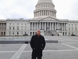MR. OSTRANDER GOES TO WASHINGTON:  Citizens' Congress organizer Bill Ostrander visited the U.S. Capitol during one of his many trips to Washington, D.C., to promote campaign finance reform. - PHOTO COURTESY OF BILL OSTRANDER