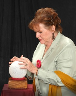 LIARS :  Sophie Lemberg (Nancy Kunishige) plays a fortune teller in The White Liars, a one-act play featured along with The Black Comedy at Santa Maria Civic Theatre. - PHOTO COURTESY OF SANTA MARIA CIVIC THEATRE