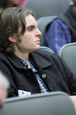 OUTRAGED:   Jono Kinkade was the first to speak against the Santa Margarita Ranch project on Dec. 19, but he wasn't the only one to rebuke three county supervisors for ignoring public input. - PHOTO BY STEVE E. MILLER