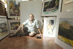 STRAIGHT OUT OF A PAINTING :  Oil and water media artist Jim Carlisle, flanked by award-winning other half Pat Cairns, welcomes you to his Atascadero studio. - PHOTO BY STEVE E. MILLER