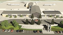 FRIENDLY SKIES:  As shown in this architectural rendering, the proposed new terminal for the SLO County Regional Airport would be much larger and more modern. The total cost of the project is currently estimated at roughly $30 million. - PHOTO COURTESY OF SLO COUNTY REGIONAL AIRPORT