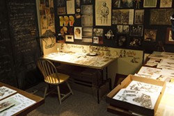 THE ARTIST'S SANCTUARY :  Pictured is Kroll's studio, which contains endless drawers of things she's cut out, which now await use in future projects.