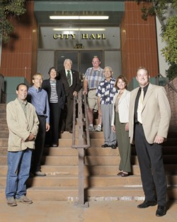 SAN LUIS OBISPO :  Two candidates are running for mayor, and six candidates are running for two seats on the City Council. Clockwise from top right: Terry Mohan, Arnold Ruiz, Marcia Nelson, Paul Brown, Dan Carpenter, John Ashbaugh, Jan Marx, Dave Romero - PHOTO BY STEVE E. MILLER