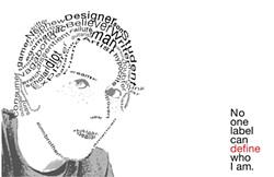 """TYPE FACE :  """"I was just using labels that people use for themselves,"""" the artist said of his typographical self-portrait. """"It's the good with the bad."""" - ARTWORK BY CALEB BAREFOOT"""