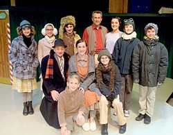 IT'S BEGINNING TO FEEL A LOT LIKE CHRISTMAS:  The cast of 'A Christmas Story' will get even the scroogiest scrooge in the holiday spirit. Back row, from left to right: Esther Jane (Edan Seaton), Helen (Sophia Lea), Scut Farkas (Elliot Peters), Adult Ralphie (Daniel Freeman), Miss Shields (Erin Parsons), Flick (Evan Clausen), and Schwartz (Drew VanderWeele). Front row, from left to right: The Old Man (Mike Mesker), Randy (Coen Carlberg), Mother (Alyson Wren), and Young Ralphie (Phineas Peters). - PHOTO COURTESY OF JAMIE FOSTER