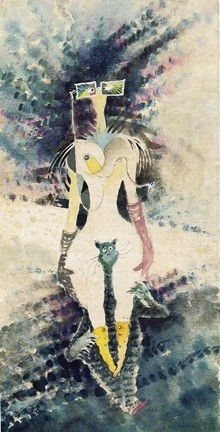 THE RATHER ODD MYOPIC WOMAN RIDING PIGGYBACK ON ONE OF HELEN'S CATS: - ARTWORK BY THEODOR GEISEL, COURTESY OF DR. SEUSS ENTERPRISES