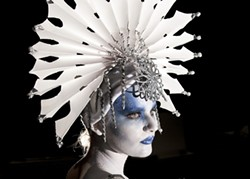 THE COLD SHOULDER :  Clara Fulks, pictured, is the Snow Queen in Cuesta drama instructor Philip Valle's adaptation of Hans Christian Andersen's fairy tale of the same name. (Fulks' makeup, Valle says, takes an hour and a half to apply!) - PHOTO COURTESY OF THE CUESTA COLLEGE DRAMA DEPARTMENT