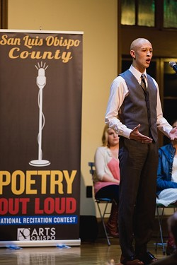 """THE LION'S ROAR:  Ethan McSwain, a senior at San Luis Obispo High School, took home first place and a place at the state competition in Sacramento for two stirring recitations of Philip Levine's - """"They Feed They Lion"""" and David Bottoms' """"Under the Vulture-Tree."""" - PHOTO BY KAORI FUNAHASHI"""