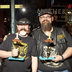 SLO LOST:  Apparently members of the CCBMC weren't allowed to compete in the contest, so two Fresno natives (very nice guys by the way) John (left) and Stephen (right) won best mustache and best beard respectively. - PHOTO BY STEVE E. MILLER