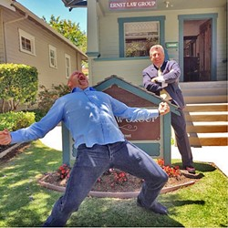 THE ICEMAN COMETH:  Former mixed martial arts champion Chuck Liddell celebrates with his attorney Warren Paboojian after SLO County jurors awarded him $1.9 million in a lawsuit against a local escrow company. - PHOTO COURTESY OF HEIDI LIDDELL