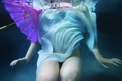 PARASOL :  The Pre-Raphaelite Society's latest endeavor is underwater photography, as exemplified by this piece by Alison Watt Jackson. - PHOTO BY ALISON WATT JACKSON
