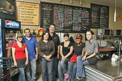 YOUR WAY:  Caitlin Radtke (left), Ozzy McLaughlin, Lisa Evans, Brad Evans, Jacqueline Mercurio, Kristen Chanaiwa, Stephanie Muir make mouth-watering sandwiches. - PHOTO BY STEVE E. MILLER
