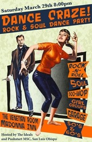 DANCE CRAZE!:  Put on your dance shoes for Dance Craze! Rock & Soul Dance Party, going down Saturday, March 29 at 8 p.m. at The Madonna Inn's Venetian Room, 100 Madonna Road in SLO. Tickets cost $15 at the door, $12 presale and are available at Boo Boo Records. - IMAGE COURTESY DANCE CRAZE!