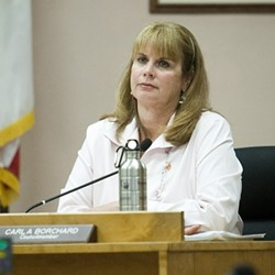 WAR ON THE SHORE :  Morro Bay's incumbent Mayor Bill Yates and current Councilwoman Carla Borchard are facing off for the top council seat in the June 5 primary. They're getting a run for their money by challengers Jamie Irons and Joe Yukich. - PHOTOS BY STEVE E. MILLER