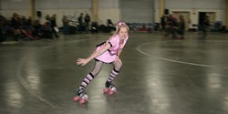 """STRAYCAT STRUT :  Cindereffinrella and Lacy Thunderware are just a few of the roller derby bad girls who body-slam their way through the chapter """"The Foul and the Pussycat"""" (pictured is StrayCat). - PHOTO BY NICK LEONARD"""