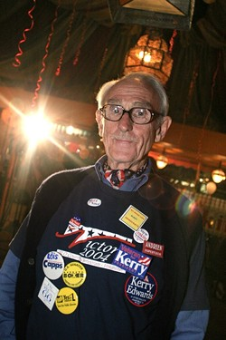 DISAPPOINTED DEMOCRAT :  Nov. 4, 2004. Harlan Hobgood donned his Democratic apparel in honor of the 2004 elections. - PHOTO BY CHRISTOPHER GARDNER