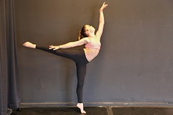 ON POINT :  Alexandra Lund, or Sparkles, as she's known online, works on perfecting her dance technique at her home studio in Arroyo Grande. - PHOTO BY DYLAN HONEA-BAUMANN