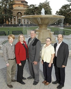 ATASCADERO :  Six candidates are running for three seats on the city council. Left to right: Brett Heinemann, Roberta Fonzi, Jerry Clay, Pamela Heatherington, Len Colamarino. Bob Kelley is not pictured. - PHOTO BY STEVE E MILLER