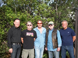 INVETERATE QUINTET :  (Left to right) Cliff Marshall, Guy Soxman, Mark Lancaster, John Messer, and Gordon McKinley are RF8, an eclectic, mostly cover band playing May 28 at Z Club. - PHOTO COURTESY OF RF8