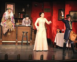 MO' MONEY, MO' PROBLEMS:  From left, The Swamp Crone (Emily Wold), Lazlo (Joel White), and Polly Montclair (Andrea J. Love) react with surprise when Lt. Alan Wexstad (Mike Lee) reveals he has retrieved the lost money case containing Polly's inheritance in the melodrama spoof La Rue's Return, now playing at The Great American Melodrama in Oceano. - PHOTO BY MARK JOHNSON
