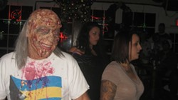 """HUNGRY FOR BRAINS? :  Known only as """"Black,"""" this zombified fellow rocked the dance floor with all the beautiful people, a fine way to bow out if you ask me."""