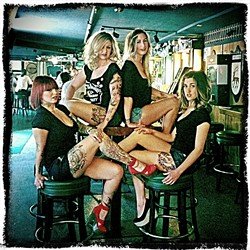 GIRLS JUST WANNA HAVE FUN :  (Left to right) Lisa Bukowski, Larella Ellsworth, Jenny Baird, and Savannah Casteel—who all work at Tigerlily Salon and Spa in SLO—vamp for the camera. - IPHONE/PHOTOTOASTER PHOTO BY GLEN STARKEY