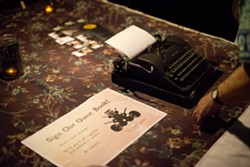 "OLD SCHOOL COOL :  To add to the milieu, the band used an old typewriter and parchment paper for people to ""sign"" their guestbook and make comments. - PHOTO BY STEVE E. MILLER"
