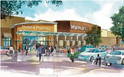 BLUE MENACE? :  The Atascadero Planning Commission is scheduled to finalize plans for a Walmart and adjoining shopping center on June 5 at 6 p.m. - IMAGE COURTESY OF PERKOWITZ AND RUTH ARCHITECTS