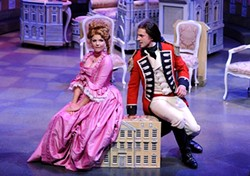 """WHAT BECOMES A LADY :  Capt. Jack Absolute (Quinn Mattfeld, right) woos Lydia Languish (Stephanie Philo) under the assumed name """"Ensign Beverly,"""" in PCPA's staging of Richard Brinsley Sheridan's The Rivals - PHOTOS BY LUIS ESCOBAR, REFLECTIONS PHOTOGRAPHY"""