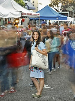 HER HAPPY PLACE:  'SLO Farmers' Market Cookbook' author Kendra Aronson loves the sights, smells, and tastes of SLO County's 20 bustling farmers' markets. - PHOTO COURTESY OF KENDRA ARONSON