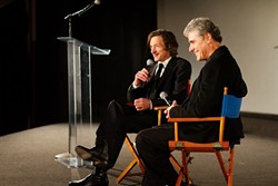 MODERN MASTER:   John Hawkes, left, discussed his work with the Palm Theatre's Jim Dee.