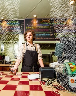 PAYING WITHOUT PAPER:  Le Ciel Crepe Café in SLO recently began accepting Bitcoin, thanks to employee and Bitcoin user Isaac Manarik, who helped get the businees set up with a Bitcoin wallet. - PHOTO ILLUSTRATION BY HENRY BRUINGTON