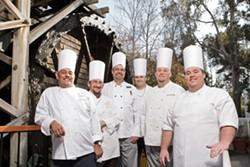MAGICIANS :  Sample the genius of these great chefs, at bargain prices: from left to right, Jose Garcia (Cliffs); Anthony Reeves (Inn at Morro Bay); Stephen Walls (Apple Farm); Gregg Wangard (Cliffs); David McWilliam (Gardens at Avila); Trevor Lynch (SeaVenture). - PHOTO BY STEVE E. MILLER