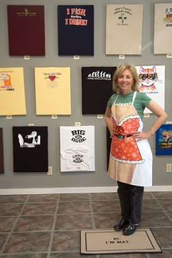 QUEEN TEE :  Owner Joanne Limberg displays her art in SLOs mock-gallery T-shirt shop. - PHOTO BY JESSE ACOSTA