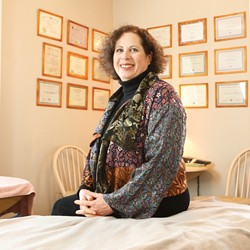 PEACE LIKE A RIVER :  Yehudit Korn practices lymph drainage therapy, which she compares to cleaning rivers of harmful pollutants. - PHOTO BY STEVE E. MILLER