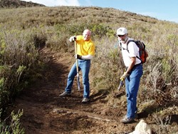 PREGAME WARM-UP :  Every Super Bowl Sunday, members of Central Coast Concerned Mountain Bikers (pictured left to right are John Krueger of Los Osos and Ralph Battles of SLO) and other community volunteers spend the morning doing trail maintenance at Montana de Oro State Park. Join the fun on Sunday, Feb. 4. - PHOTO COURTESY OF CENTRAL COAST CONCERNED MOUNTAIN BIKERS