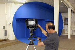 FEELING BLUE :  French photographer George Rousse plays with space, color, and geometry in Bending Space. - PHOTO COURTESY OF THE GROOVE PRODUCTIONS