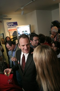 A WINNING PARTY :  Supporters of Sam Blakeslee, the Republican winner of the 33rd Assembly district race, gathered early at Corner View Restaurant in San Luis Obispo to celebrate. - CHRISTOPHER GARDNER