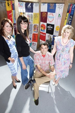 WHAT TO WEAR :  Pictured are (left to right) Paige Pranjic (in a hand-dyed vintage slip and suede pumps), Kannyn January (high-waisted jeans and tee), Colby Courter (vintage Western shirt and Levi's), and Kelsie Hart (vintage floral summer dress and pumps). - PHOTO BY STEVE E. MILLER