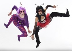 """POPPED CORN :  Kellie Fryer and Diandra Bachelor don their wackiest clothes--and personalities--for """"Pop Music,"""" which they performed in competition and will also perform at the """"Rhythms"""" show. - PHOTO BY TOM MEINHOLD"""